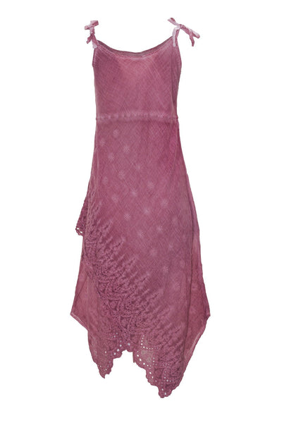 pink cami maxi dress with embroidery dress ipekci