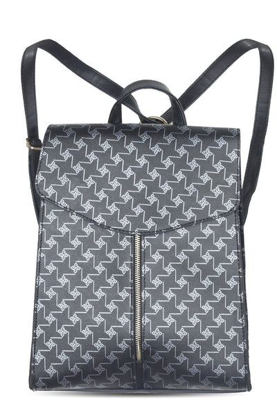 chassca black printed flap backpack - Breakmood