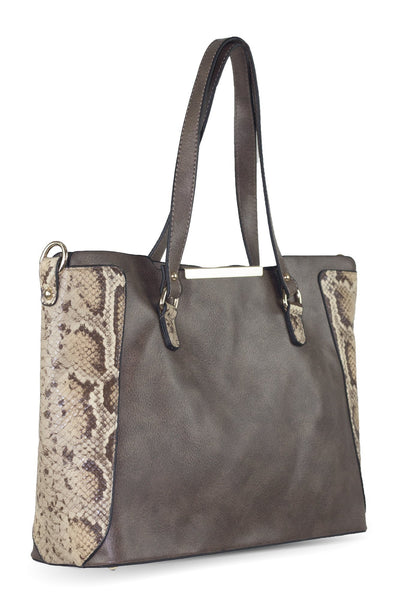 chassca brown faux snake leather shoulder bag with purse - Breakmood