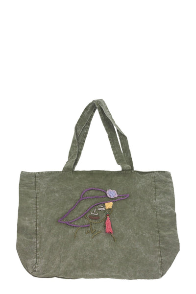 authentic khaki denim look casual shoulder bag with embroidery - Breakmood