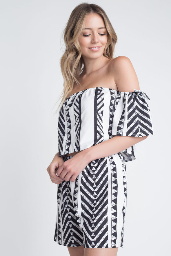 Women's Aztek Off Shoulder 2 Piece Set - Tokhore