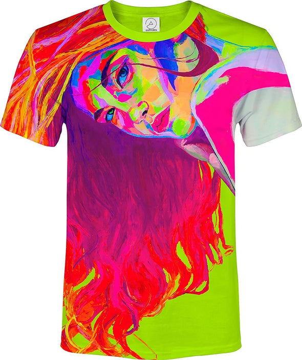 Neon Lime T Shirt Glow in Ultraviolet Fluorescent Model April - Tokhore