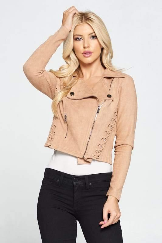 Faux Suede Moto Leather Jacket - Tokhore