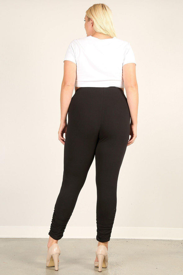 Plus Size Solid High Rise Fitted Leggings - Tokhore