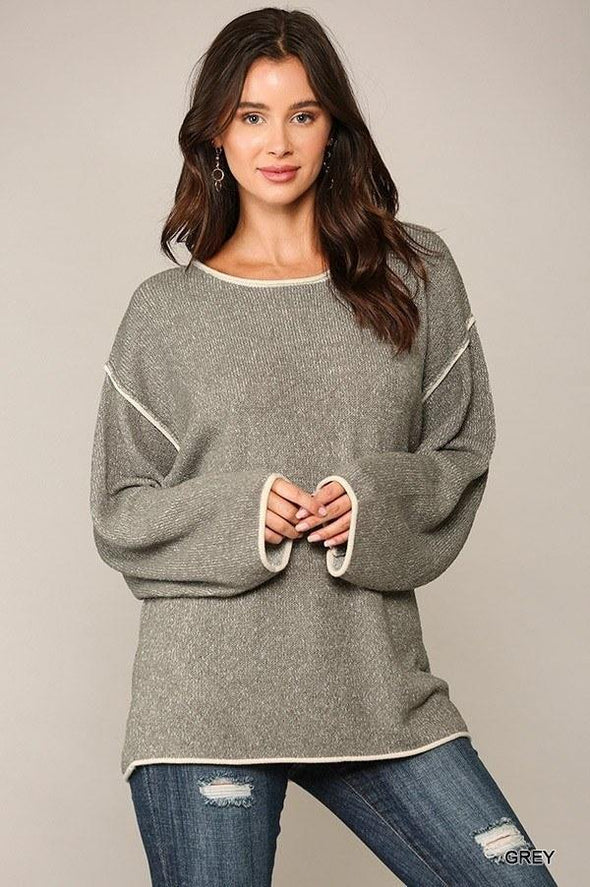 Two-tone Sold Round Neck Sweater Top With Piping Detail - Tokhore