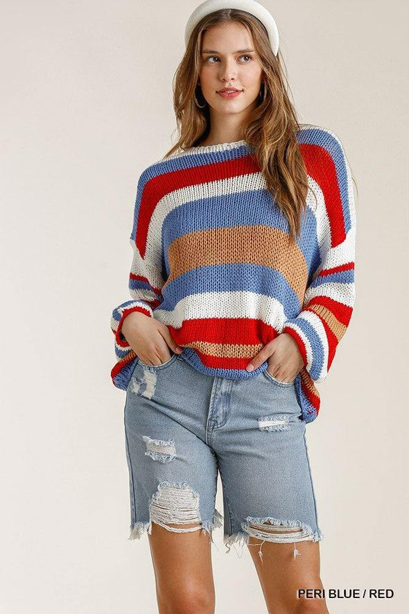 Multicolored Stripe Round Neck Long Sleeve Knit Sweater - Tokhore