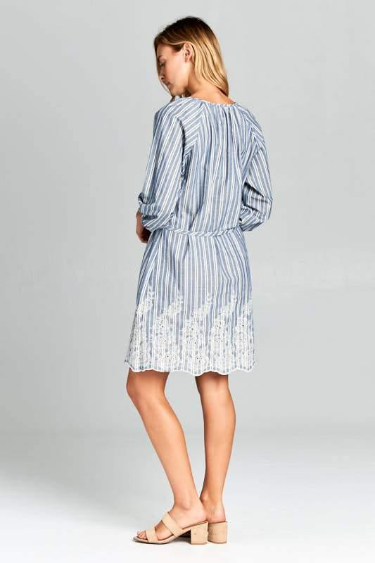 Denim Blue Embroidered Dress with Tie - Tokhore