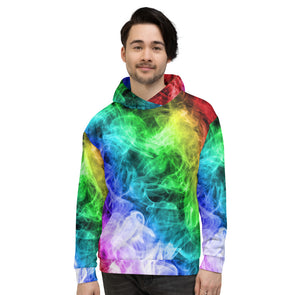 Colourful 3d smoke printed hoodie for man