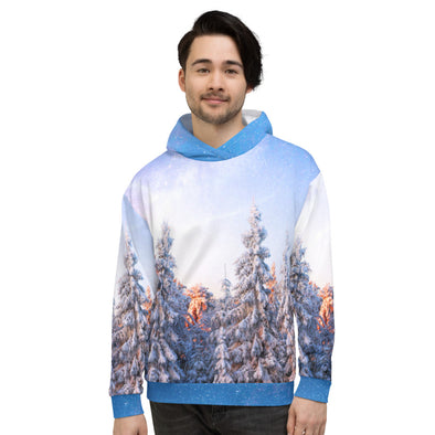 snowy pine forest all over print hoodie for man
