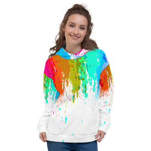 Abstract raibow waterdrop all over print 3d hoodie for women