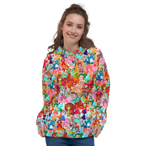 Colourful cartoons 3d printed hoodie for women