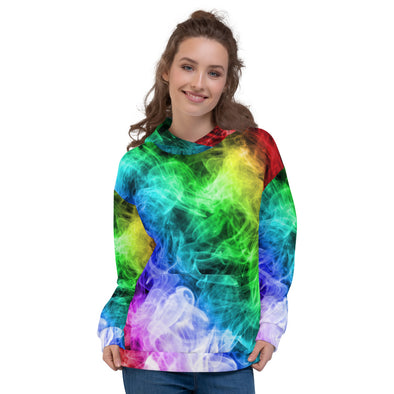 Colourful 3d smoke printed hoodie for women