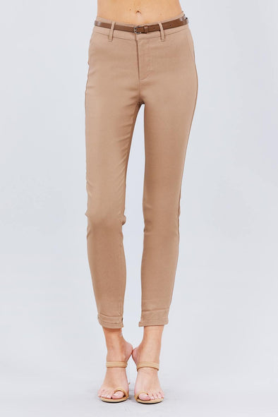 Belted Textured Long Pants - Tokhore
