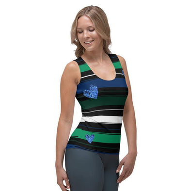Julia Green Blue Stripes and Hearts Tank Top - Tokhore