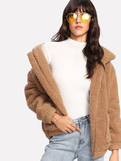 Dual Pocket Faux Fur Teddy Jacket - Tokhore