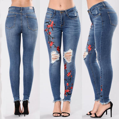 Fashion hole embroidered high-elastic denim women's trousers - Tokhore