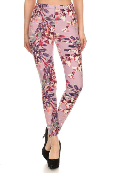 Floral Printed High Waist Leggings - Tokhore