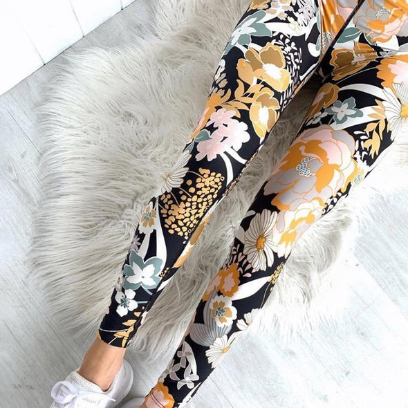Flower Print Yoga Fitness Clothing For Women Vest Crop Top Leggings - Tokhore
