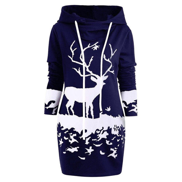 Free Ostrich Christmas Dress Women Hooded Long Sleeve Printed Casual Vestido De Festa Curto Casual Dress Clothes Women N30 - Tokhore