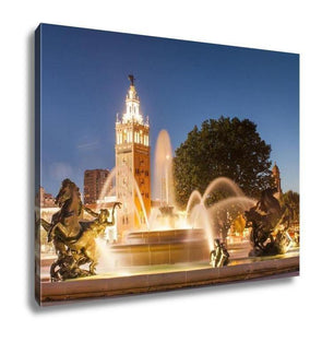 Gallery Wrapped Canvas, Kansas City Missouri Fountain At Country Club Plaza - Tokhore