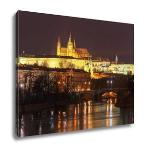 Gallery Wrapped Canvas, Prague Castle Charles Bridge Little Quarter Night Prague Czech - Tokhore