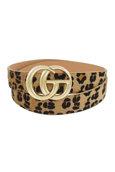 Gd Buckle Leopard Hair Belt - Tokhore