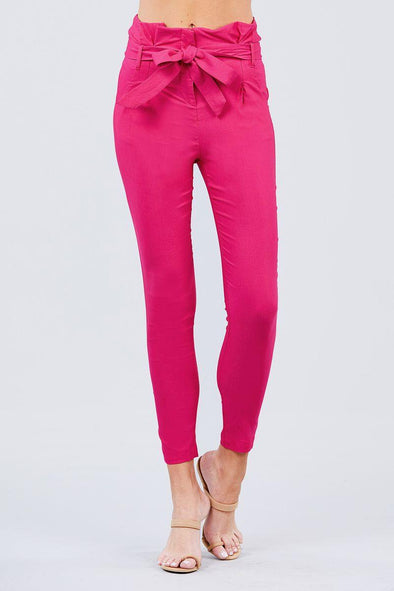 High Waisted Belted Pegged Stretch Pant - Tokhore