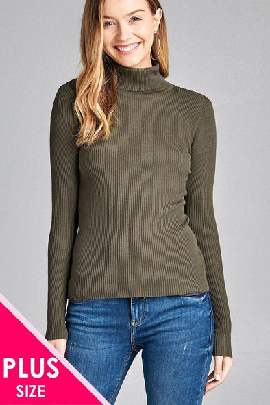 Ladies fashion plus size long sleeve turtle neck fitted rib sweater top - Tokhore