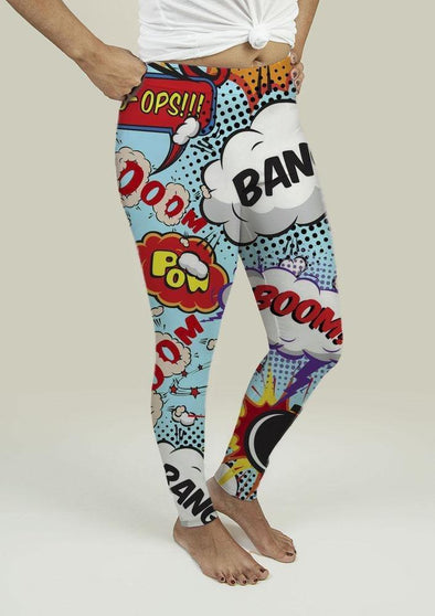 Leggings with Comic Speech Bubbles - Tokhore
