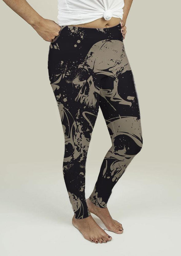 Leggings with Grunge Skulls - Tokhore