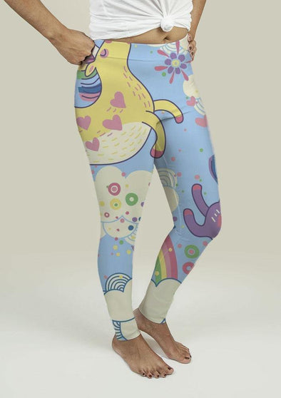Leggings with Rainbows and Unicorns in the Clouds - Tokhore
