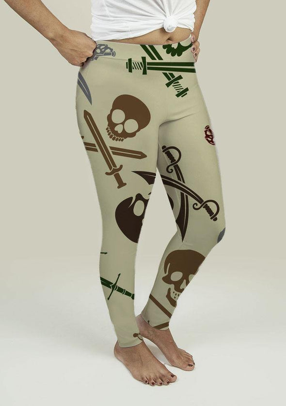 Leggings with Skull and Swords - Tokhore