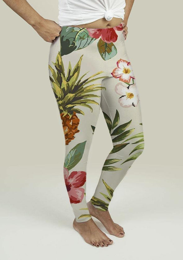 Leggings with Tropical flowers with pineapple - Tokhore