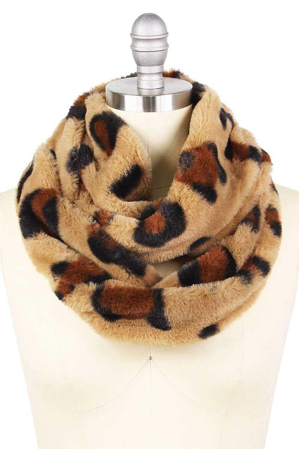 Leopard Print Fur Infinity Scarf - Tokhore