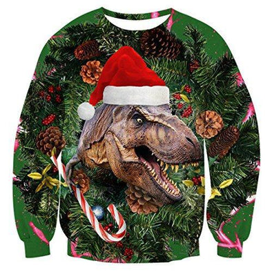 LISCN Unisex Women Christmas Sweater ugly Christmas Sweater Men Pullover Winter Plus Size Funny Autumn Tops Clothing Dinosaur - Tokhore