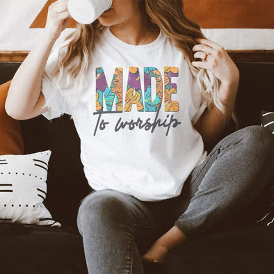 Made To Worship Floral Graphic T-Shirt - Tokhore