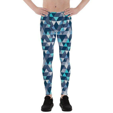 Mens Leggings - Blue Geometric Triangles Leggings - Tokhore