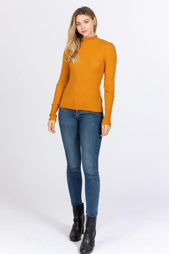 Mock Neck Viscose Sweater - Tokhore