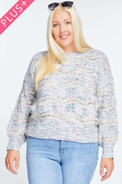 Multi Color Round Neck Long Sleeve Sweater - Tokhore