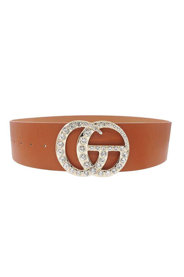 Multi Rhinestone Buckle Belt - Tokhore
