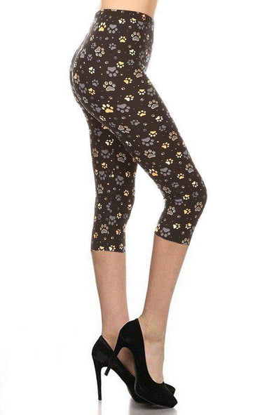 Paw Print, High Rise, Fitted Capri Leggings, With An Elastic Waistband - Tokhore