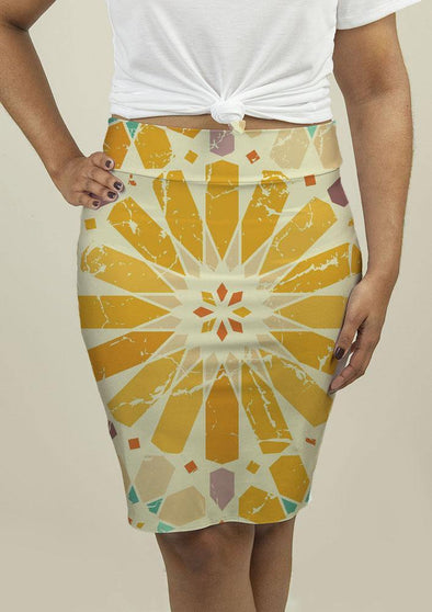 Pencil Skirt with Arabic Pattern - Tokhore