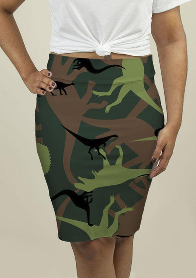 Pencil Skirt with Dinosaur Camouflage - Tokhore