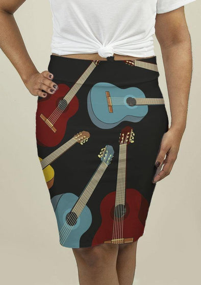 Pencil Skirt with Guitars - Tokhore