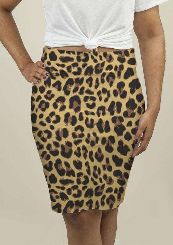 Pencil Skirt with Leopard Print - Tokhore
