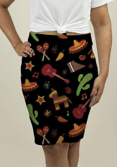 Pencil Skirt with Mexican Pattern - Tokhore