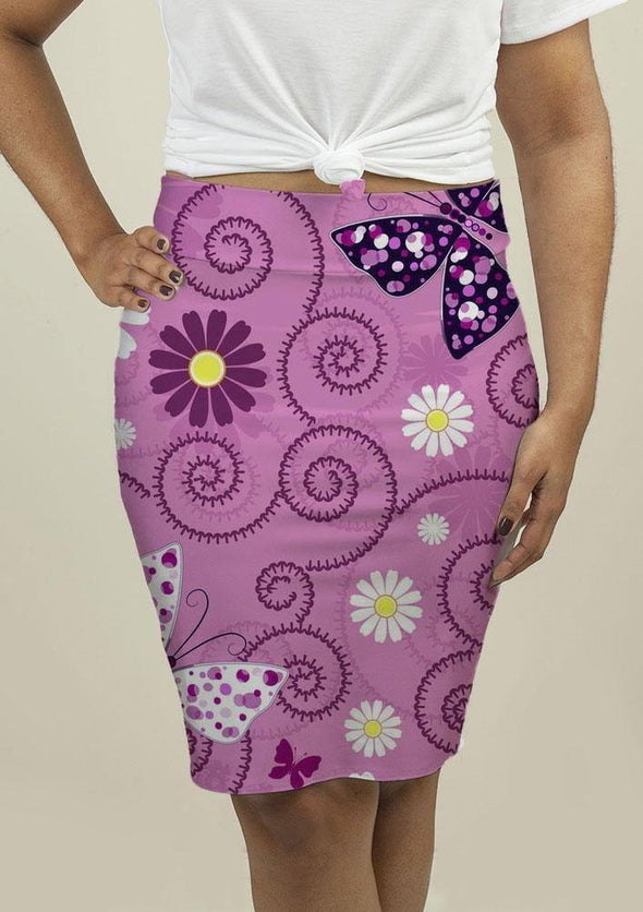 Pencil Skirt with Pink Floral Pattern - Tokhore