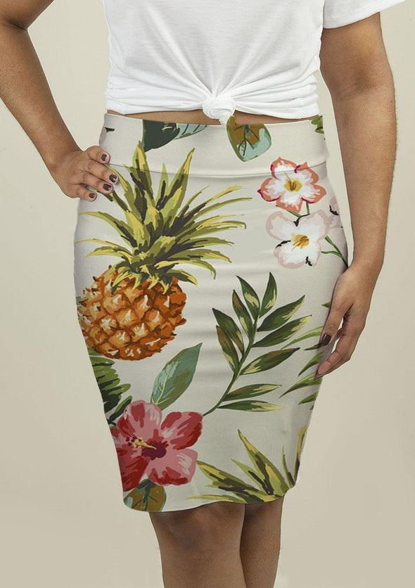 Pencil Skirt with Tropical flowers with pineapple - Tokhore