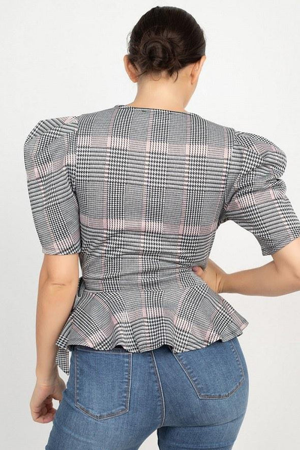 Plaid Front Wrap Puff Sleeve Top - Tokhore