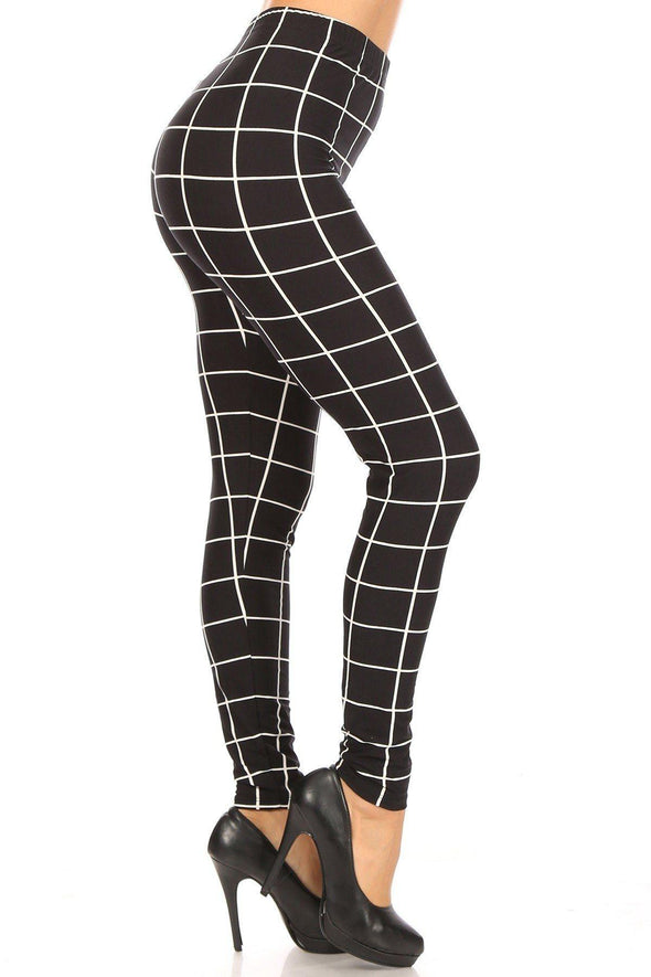Plaid High Waisted Leggings - Tokhore